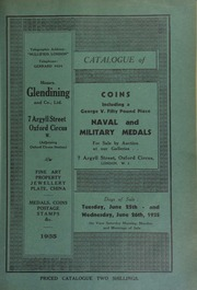 Catalogue of coins, including a George V jubilee fifty pound piece, 1935; and a very fine gold enameled badge of a Past Master of the Worshipful Company of Plumbers; [as well as] naval and military medals, [including those] from the collection of W.A. Steward ... [06/25/1935]