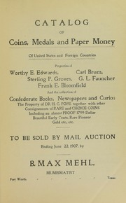 Catalogue of Coins, Medals and Paper Money Of United States and Foreign Countries