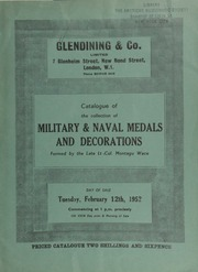 Catalogue of the collection of military & naval medals and decorations formed by the late Lt.-Col. Montagu Wace ... [02/12/1952]