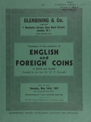 Catalogue of the collection of English and foreign coins, especially those of South America, Italy & Malta, in gold and silver, formed by the late Dr. H.F. Vassallo, killed in enemy action in Malta, in 1942 ... [05/14-15/1957]
