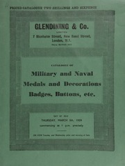 Catalogue of a collection of military and naval medals and decorations, badges, buttons, etc., [including] the Maharajah of Burdwan's medal for service at the burning of the H.M.S. Goliath, 1875; ... [03/05/1959]