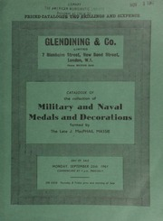 Catalogue of the collection of military and naval medals and decorations, formed by the late J[ames] MacPhail Massie ... [09/25/1961]
