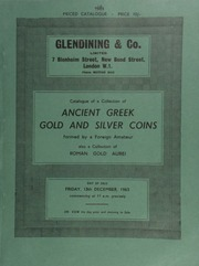 Catalogue of a collection of Ancient Greek gold and silver coins, formed by a foreign amateur, also a collection of Roman gold aurei, formed by a nobleman ... [Catalogued by G. Muller] ... [12/13/1963]