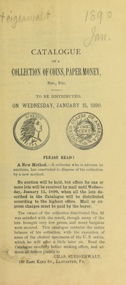Catalogue of a collection of coins, paper money, etc., etc. [01/15/1890]