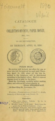 Catalogue of a collection of coins, paper money, etc., etc. [04/10/1890]
