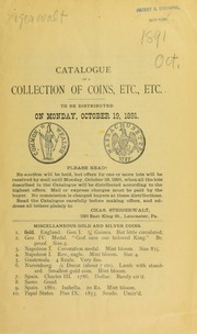 Catalogue of a collection of coins, etc., etc. [10/19/1891]
