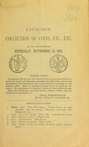 Catalogue of a collection of coins, etc., etc. [11/19/1891]