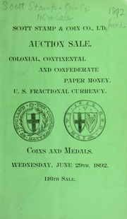 Catalogue of colonial, continental and confederate paper money ... [06/29/1892]