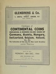 Catalogue of continental coins, mediaeval and modern silver issues of Germany, Austria, Hungary, Switzerland, Belgium, Holland, etc., etc., ... [12/18/1944]