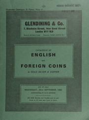 Catalogue of English and foreign coins, in gold, silver, & copper, [including] a William and Mary five guineas piece, 1691 (MCE 136); a George II five guineas piece, 1741, young head; a Queen Anne pattern farthing, 1713,  ... [09/22/1982]