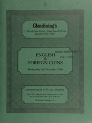 Catalogue of English and foreign coins, [including] a Charles II five-guineas piece, pointed truncation and elephant below bust, 1668; Institute of Civil Engineers, the Telford medal, by J.S. and A.B. Wyon;  ... [12/03/1986]