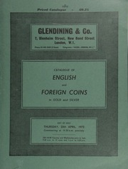 Catalogue of English and foreign coins, in gold and silver, [including] a selection of Spanish-American silver coins, many relating to various sunken treasures, [the 1715 Florida wrecks],  ... [04/20/1972]