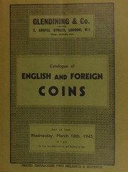 Catalogue of English and foreign coins, including American coins, commemorative medals, [as well as] Turkish coins, [and containing] a very fine set of George VI specimen coins of 1937; ... [03/10/1943]