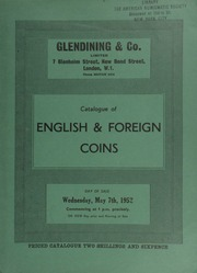 Catalogue of English & foreign coins, [including] the collection of silver coins formed by A.W. Jan, Esq., [etc.] ... [05/07/1952]