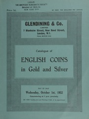 Catalogue of English coins, in gold and silver, [including] a selection of choice English gold coins, the property of Lt.-Col. J.K.R. Murray, [containing] a milled series; and other properties,  ... [10/01/1952]