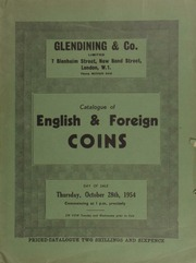 Catalogue of English & foreign coins, [including] a Brazil gold bar, 1767, stamped with arms of Brazil, ... ex. Glendining sale 27th October 1938; [as well as] an Earl of Powis, large gold medal by L.C. Wyon,  ... [10/28/1954]
