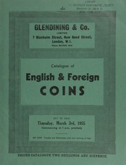 Catalogue of English & foreign coins, [including] silver & copper coins, [such as] a small collection of Charles I coins from the Weymouth Mint, consigned by J. R[alph] Vincent; Maundy sets 1882-1951  ... [03/03/1955]
