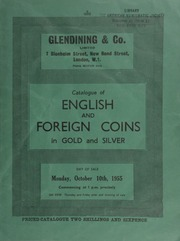 Catalogue of English and foreign coins, in gold and silver, [including] gold commemorative medals, [such as] a Royal Society large gold medal, 1833, by W. Wyon, obv. bust of William IV, rev. standing figure of Newton; [as well as] a silver vase, inlaid with twelve gold coins ... [10/10/1955]