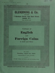 Catalogue of English and foreign coins, in gold and silver, [including] a Bombay, George V, pattern mohur, 1919; a Cromwell gold medal, Death, 1658; an Ethiopia, Haile Selassie I, pattern talari struck in gold;  ... [04/01/1958]