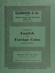 Catalogue of English and foreign coins, in gold and silver, [as well as] commemorative medals, [including] Germany, uniface striking in gold of the reverse of a thaler;  ... [07/17/1958]