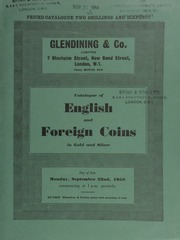 Catalogue of English and foreign coins, in gold and silver, [including] a Prince of Wales, gold medal commemorating [his] investiture at Carnarvon, 13 July, 1911; a U.S.A. [draped bust silver dollar] 1804;  ... [09/22/1958]