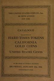 Catalogue of an exceptional collection of hard times tokens ... [01/21/1916]