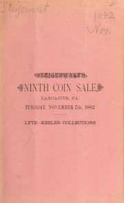 Catalogue of a fine collection of United States gold, silver and copper coins ... [11/07/1882]