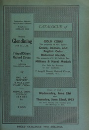 Catalogue of gold coins, the property of Mrs. Byrne; Greek, Roman, and English coins; medals of Napoleon, and other historical medals, the property of J.M. Calleja, Esq.; ... [06/21/1933]