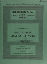 Catalogue of gold & silver coins of the world, [including] a Vatican, Pius IX, zecchino, 1775; a Russia, Nicholas I, platinum 12-roubles, 1832; [as well as] British Commonwealth coins, and cabinets ... [04/24/1963]