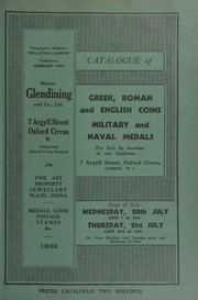 Catalogue of Greek, Roman, and English coins, [foreign gold coins, commemorative medals, seventeenth century tokens, and] military and naval medals, [including] a collection of cross belt plates and gorgets, the property of the late Henry Gaskell, Esq. ... [07/20/1932]