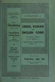 Catalogue of Greek, Roman and English coins, including a Macedon Alexander the Great stater, with bust of Athena wearing a Corinthian helmet; a William and Mary five guineas coin of 1692, ... [07/05/1934]
