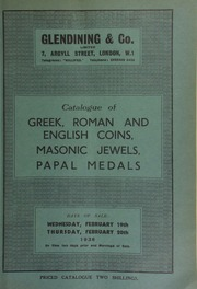 Catalogue of Greek, Roman and English coins; Masonic jewels, the property of Sir F.M. Crisp, Bart.; [and] papal medals, no duplicates, in bronze, copper, or gilt; [etc.] [02/19/1936]