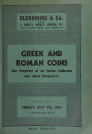 Catalogue of Greek and Roman coins, the property of an Italian collector, and other properties ... [07/07/1939]