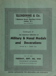 Catalogue of the important collection of military and naval medals and decorations, formed by J. Barker, Esq. ... [09/05/1950]