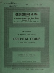 Catalogue of an important collection of Oriental coins, from the U.S., in gold, silver, and bronze, [containing] one of the finest selections of African and Asian selections of coins ever to be seen on the European market ... [06/30/1965]