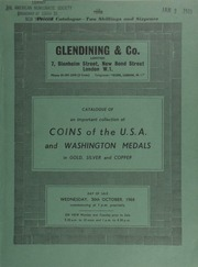 Catalogue of an important collection of coins of the U.S.A. and Washington medals, in gold, silver and copper, [including also] a small number of very choice coins from Canada and Newfoundland ... [10/30/1968]