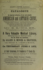 Catalogue of an important collection of rare and valuable American and antique coins ... [06/06/1872]