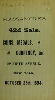 Catalogue of an interesting collection of medals ... [10/25/1894]