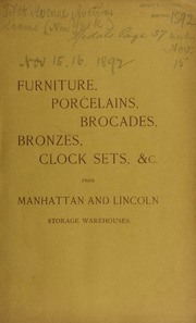Catalogue of Louis XIV, XV, XVI, Chippendale, mahogany, and superbly carved oak [etc.] ... [11/15/1892]