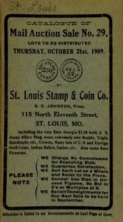 Catalogue of mail auction sale no. 29. [10/21/1909]