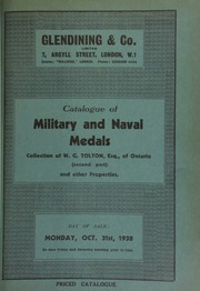 Catalogue of military and naval medals, the collection of W.G. Tolton, Esq., of Ontario (second part), [containing] an Indian Chief medal, George II, 1757, [showing] a man seated beneath a tree offering a Pipe of Peace to an Indian; and other properties ... [10/31/1938]