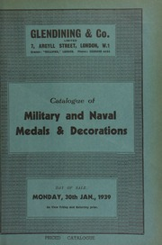 Catalogue of military and naval medals & decorations, including a bronze medal in case of the Carnegie Hero Fund Trust; and the History of the Orders of Knighthood of the British Empire, 1842, with Baxter illustrations, and book plate of Allan Wyon ... [01/30/1939]