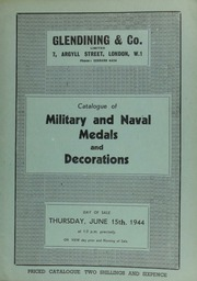Catalogue of military and naval medals and decorations, [including] the collection of the late P.H. Lee, Esq., of Huddersfield, [containing] a medal of West Africa, with ring and swivel suspender; and other properties, [including] groups and pairs ... [06/15/1944]