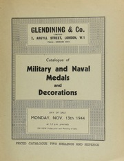 Catalogue of military and naval medals and decorations, [including] the property of the late Y. Speak, Esq., of Blackpool; [and] other properties;  ... [11/13/1944]