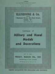 Catalogue of military and naval medals and decorations, including a Coorg 1837, gold medal presented by the Hon. East India Company for loyalty during the rebellion, very fine and extremely rare ... [03/09/1951]