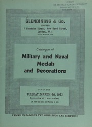 Catalogue of military & naval medals and decorations, [including] a group of decorations [given] to Major General Sir Thomas Hurdle, K.C.B., Royal Marines; a collection formed by an officer; [and another] ... by the late A.R.W. Goldwin, Esq. ... [03/04/1952]