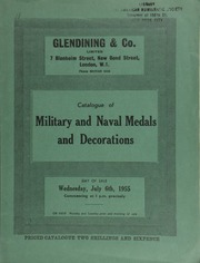 Catalogue of military and naval medals and decorations, including a Field Officer's Gold Medal for Java, awarded to Major George Miller, 1st. Bn., 14th Foot; the group of six decorations awarded to Major General Sir Wilsone Black, K.C.B.; ... [07/06/1955]
