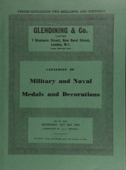 Catalogue of military and naval medals and decorations, including the Victoria Cross awarded to Able-Seaman George Hinckley, 9 October 1862; and a group of ten medals, formerly the property of Edward Count Taaffe,  ... [07/18/1962]