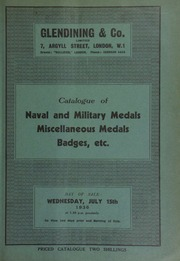 Catalogue of naval and military medals, miscellaneous medals, badges, etc., including a collection sold by order of the executors of the late J.H. Hodgekinson, [etc.] ... [07/15/1936]