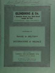 Catalogue of naval and military decorations and medals, [including] the King's Medal for Courage in the Cause of Freedom; Liverpool Shipreck and Humane Society's Marine Lifesaving medal;  ... [11/30/1976]